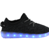 Galaxy LED Shoes Light Up USB Charging Low Top Knits Kids Sneakers (Black)