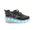 Galaxy LED Shoes Light Up USB Charging Rolling Wings Kids Sneakers (Black)