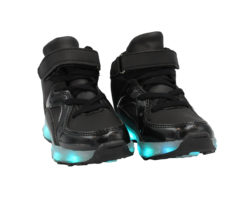 Galaxy LED Shoes Light Up USB Charging High Top Jet Lace & Strap Kids Sneakers (Black)