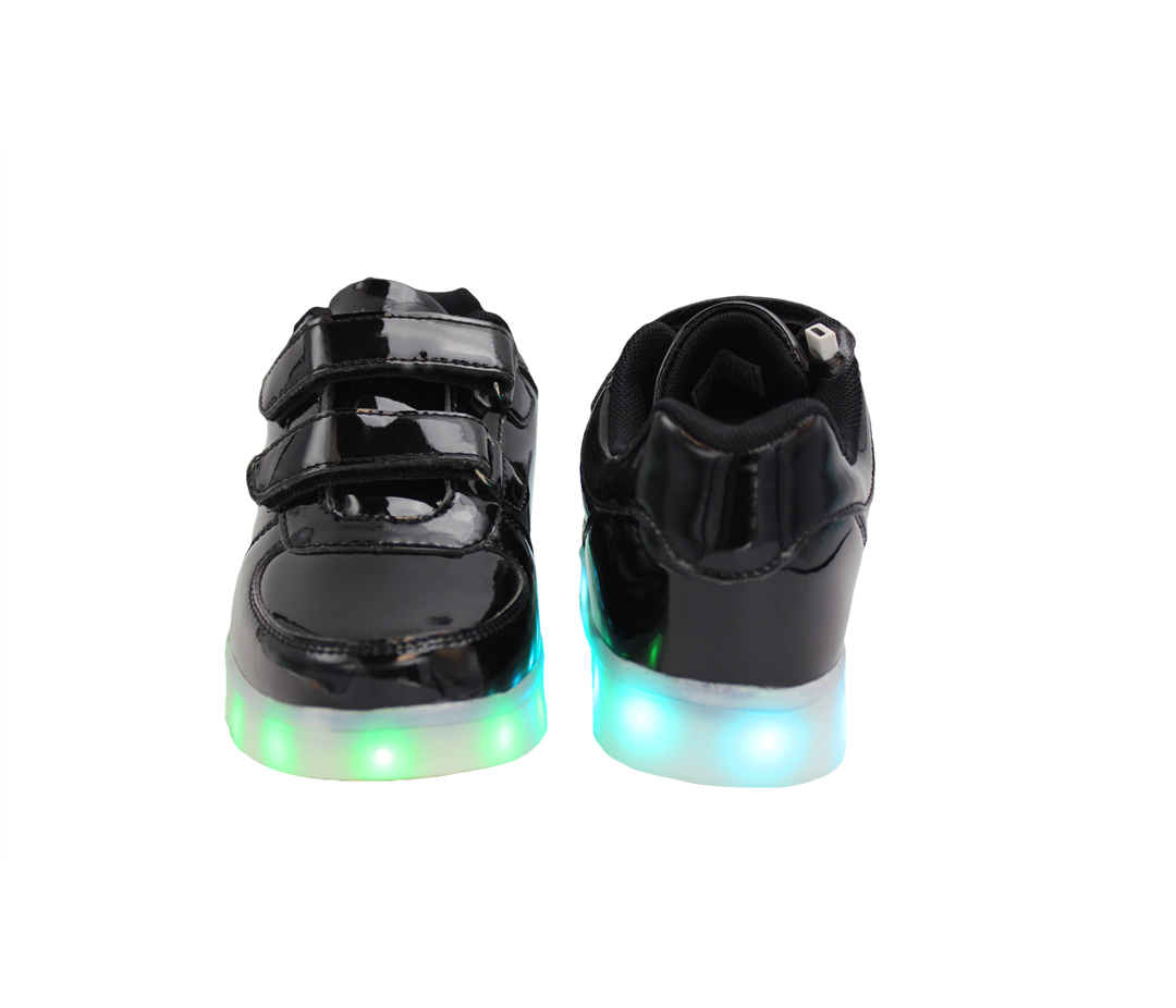 7ea7ecb8873129 Galaxy LED Shoes Light Up USB Charging Low Top Straps Kids Sneakers (Black  Glossy)