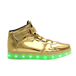 Galaxy LED Shoes Light Up USB Charging High Top Strap & Lace Men's Sneakers (Gold Glossy)