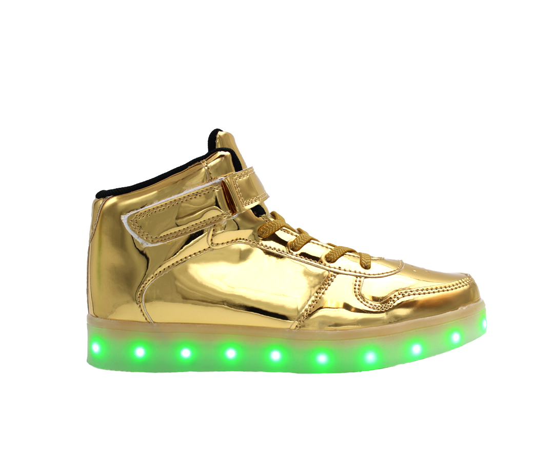 0e1bb74c13de Galaxy LED Shoes Light Up USB Charging High Top Strap   Lace Men s Sneakers  (Gold