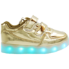 Galaxy LED Shoes Light Up USB Charging Low Top Strap Kids Sneakers (Gold Glossy)
