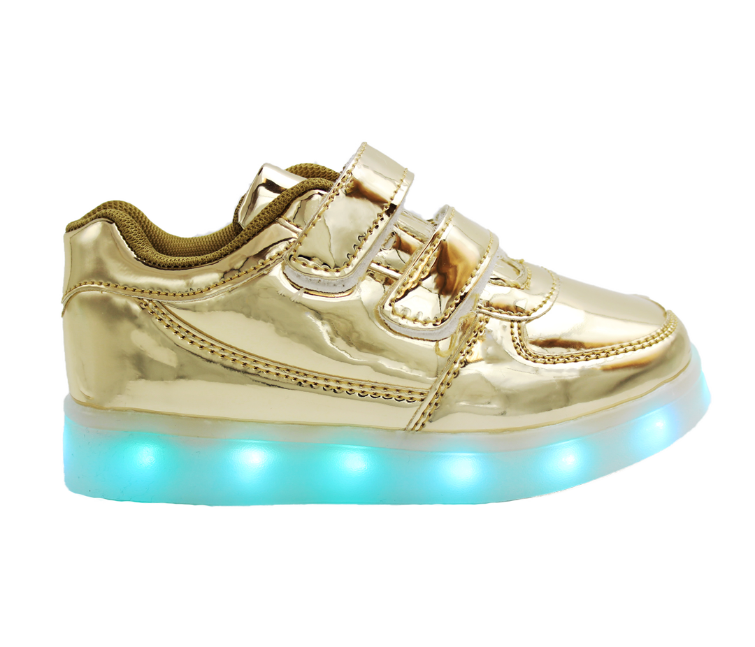 974f128f892e Galaxy LED Shoes Light Up USB Charging Low Top Strap Kids Sneakers (Gold  Glossy)