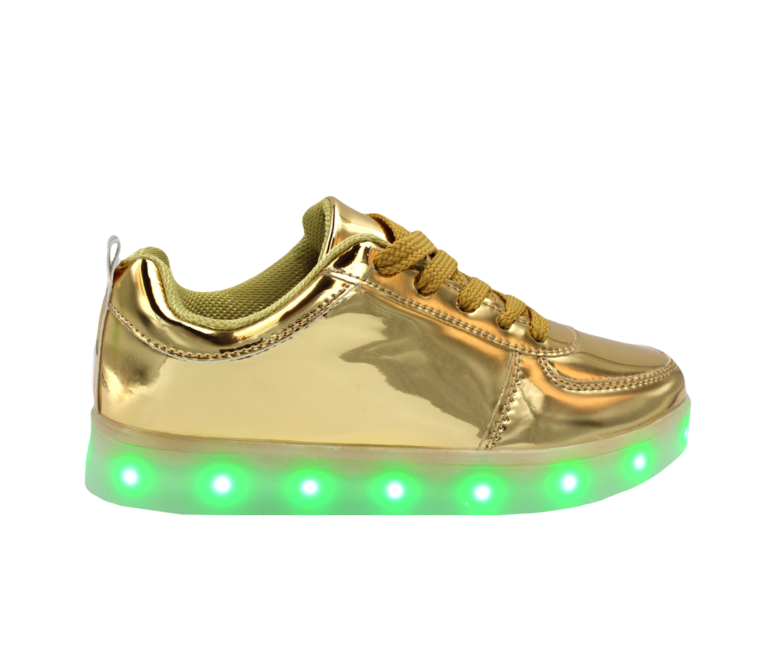Galaxy LED Shoes Light Up USB Charging Low Top Men's Sneakers (Gold Glossy)