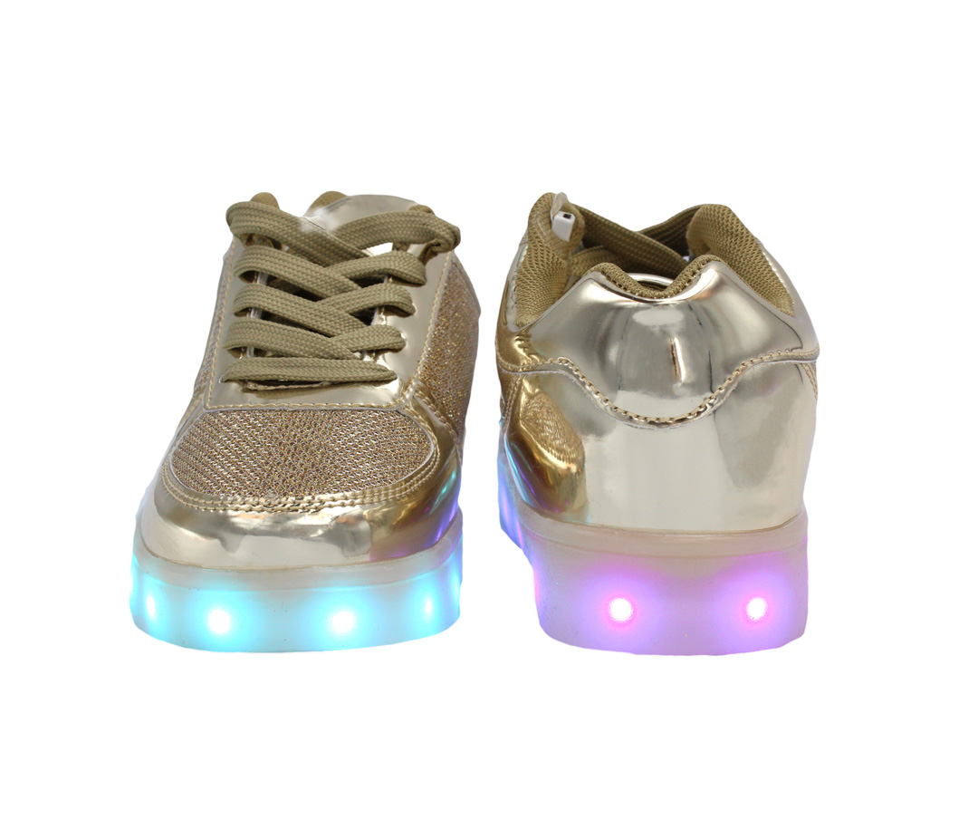 Galaxy LED Shoes Light Up USB Charging Low Top Kids Sneakers (Gold Glossy Fusion)