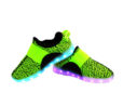 Galaxy LED Shoes Light Up USB Charging Low Top Sport Knit Kids Sneakers (Green/Black) 3