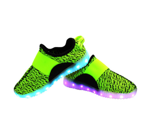 Galaxy LED Shoes Light Up USB Charging Low Top Sport Knit Kids Sneakers (Green/Black)