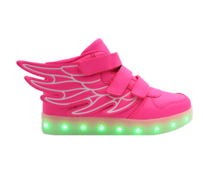 Galaxy LED Shoes Light Up USB Charging High Top Wings Kids Sneakers (Pink)