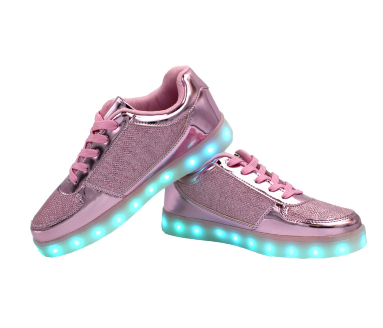 Galaxy LED Shoes Light Up USB Charging Low Top Kids Sneakers (Pink Glossy Fusion)