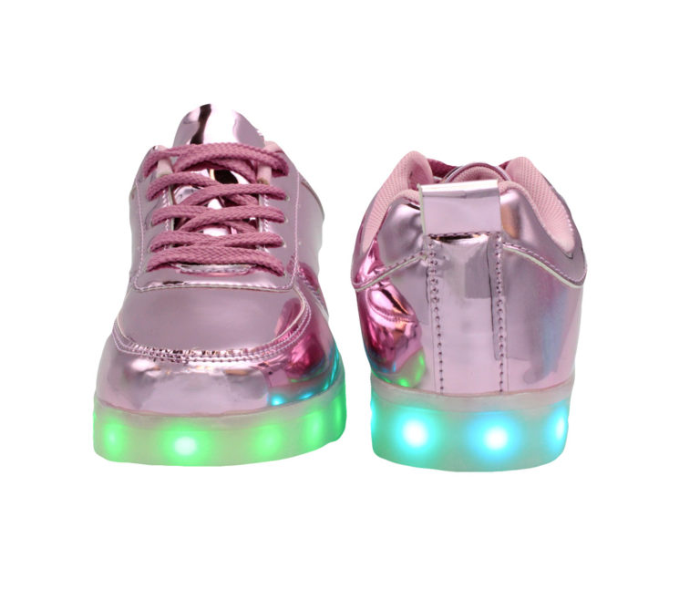 Galaxy LED Shoes Light Up USB Charging Low Top Kids Sneakers (Pink Glossy)