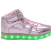 Galaxy LED Shoes Light Up USB Charging High Top Lace & Strap Kids Sneakers (Pink Glossy)