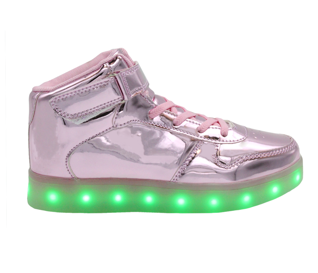 Galaxy LED Shoes Light Up USB Charging High Top Lace   Strap Kids Sneakers  (Pink f9748deae01d