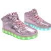 Galaxy LED Shoes Light Up USB Charging High Top Lace & Strap Kids Sneakers (Pink Glossy) 2