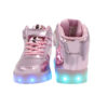 Galaxy LED Shoes Light Up USB Charging High Top Lace & Strap Kids Sneakers (Pink Glossy) 4