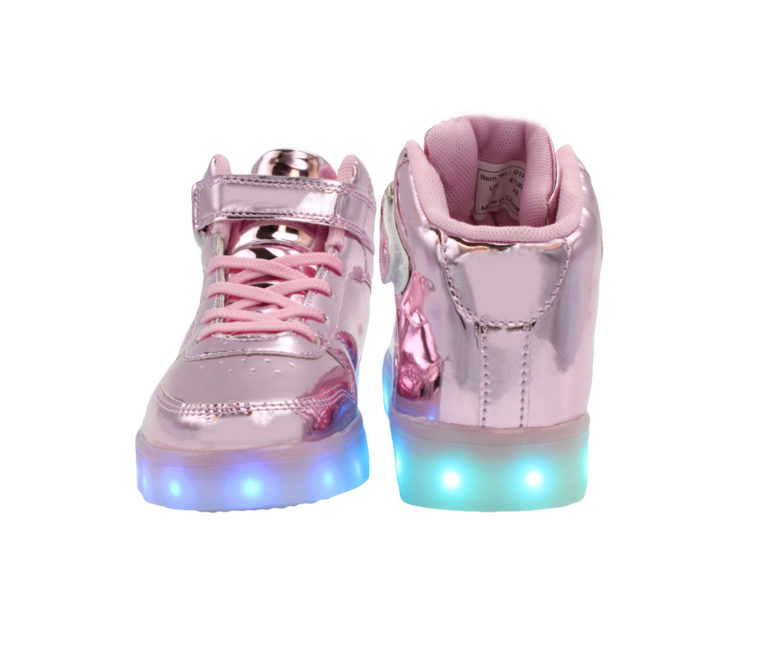 Galaxy LED Shoes Light Up USB Charging High Top Women's Sneakers (Pink Glossy)