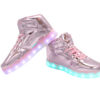 Galaxy LED Shoes Light Up USB Charging High Top Lace & Strap Kids Sneakers (Pink Glossy) 3