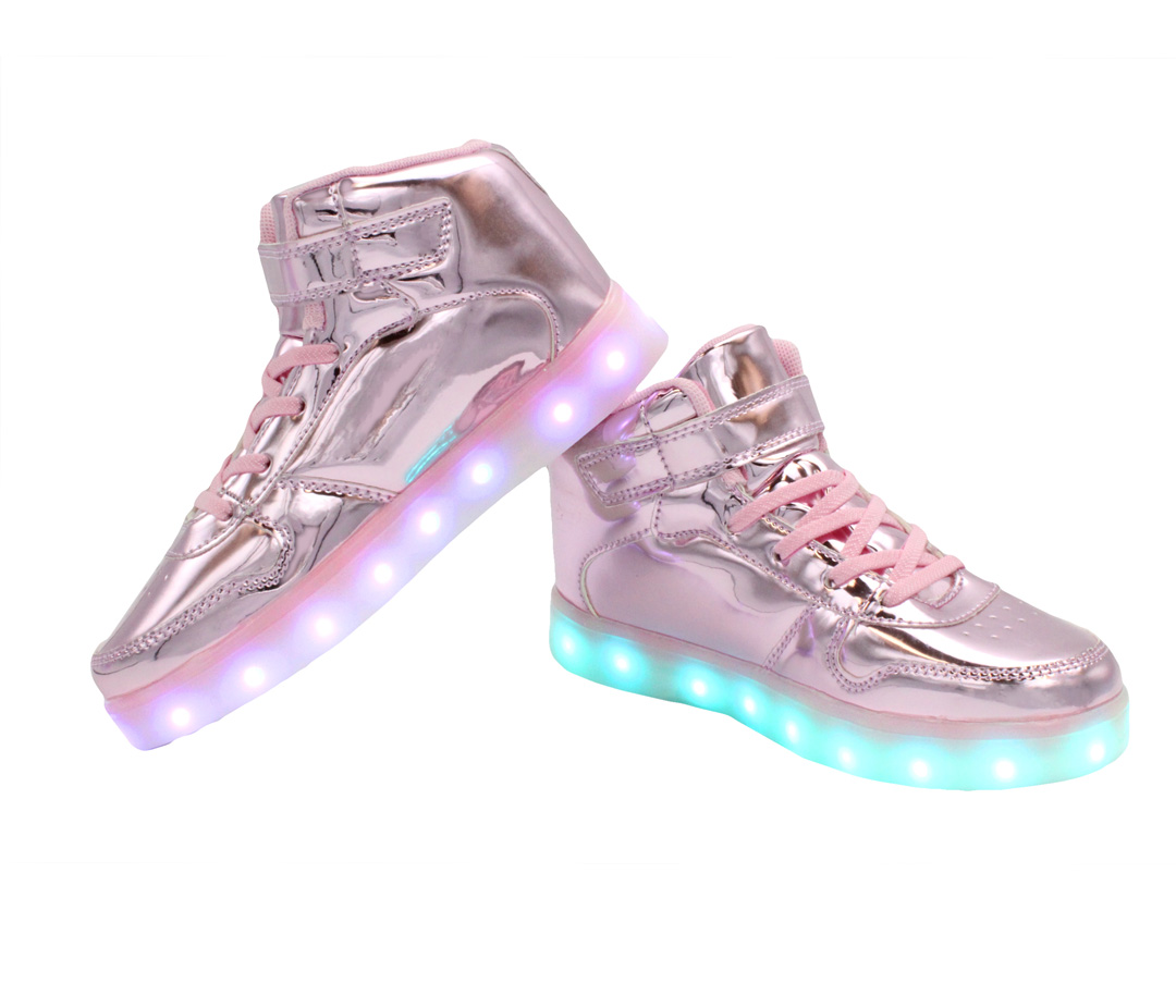 5e89c7f8c559e Galaxy LED Shoes Light Up USB Charging High Top Women's Sneakers (Pink  Glossy)