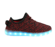 Galaxy LED Shoes Light Up USB Charging Low Top Knit Kids Sneakers (Black/Red)