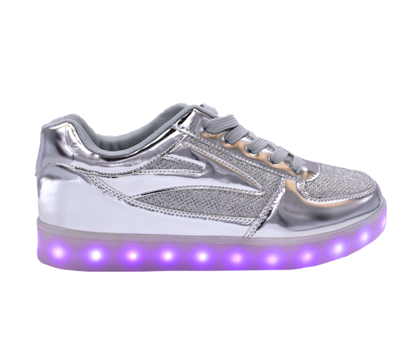 Galaxy LED Shoes Light Up USB Charging Low Top Kids Sneakers (Silver Glossy Fusion)