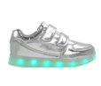 Galaxy LED Shoes Light Up USB Charging Low Top Straps Kids Sneakers (Silver Glossy)