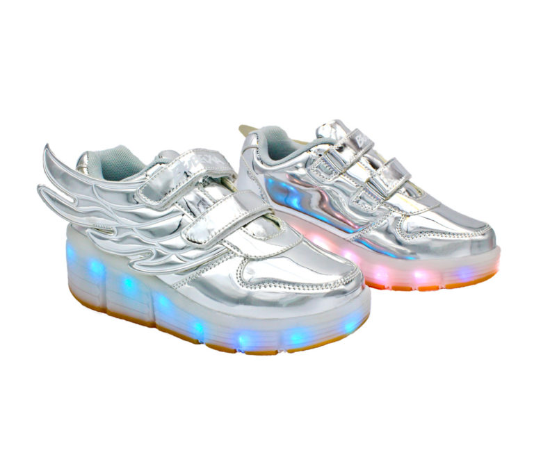 Galaxy LED Shoes Light Up USB Charging Rolling Wings Kids Sneakers (Silver Glossy)