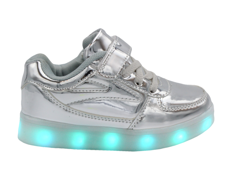 Galaxy LED Shoes Light Up USB Charging Low Top Lace & Strap Kids Sneakers (Silver Glossy)