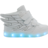 Galaxy LED Shoes Light Up USB Charging High Top Wings Kids Sneakers (White)