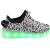Galaxy LED Shoes Light Up USB Charging Low Top Knit Kids Sneakers (White/Grey)