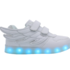 Galaxy LED Shoes Light Up USB Charging Low Top Wings Kids Sneakers (White)