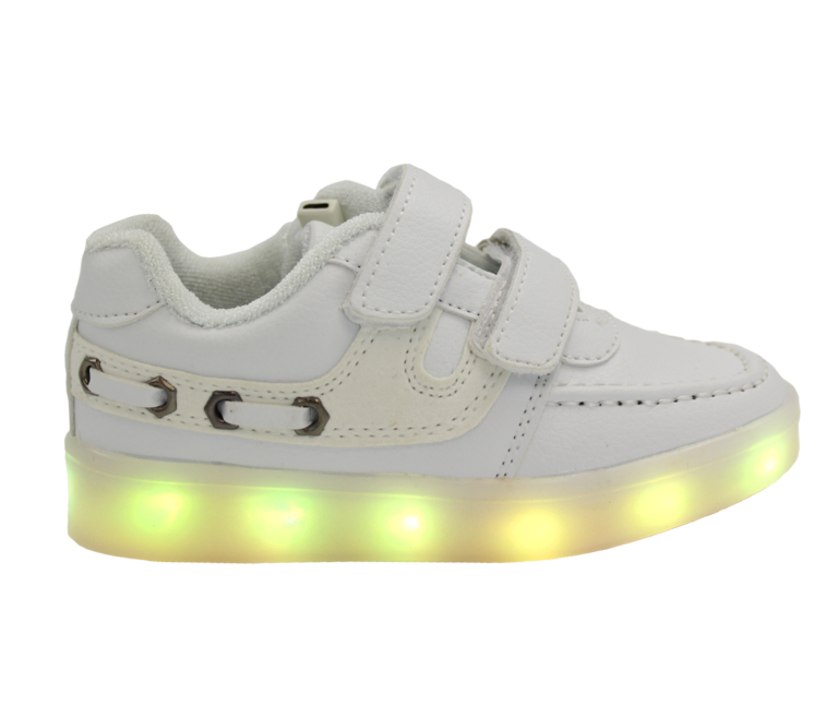Galaxy LED Shoes Light Up USB Charging Low Top Boat Strap Kids Sneakers (White)