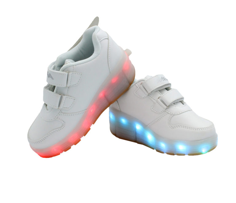 Galaxy LED Shoes Light Up USB Charging Rolling Wings Kids Sneakers (White)