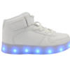 Galaxy LED Shoes Light Up USB Charging High Top Lace & Strap Kids Sneakers (White)