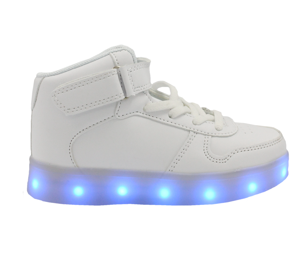 buying new to buy great deals Galaxy LED Shoes Light Up USB Charging High Top Lace & Strap Kids Sneakers  (White)