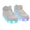 Galaxy LED Shoes Light Up USB Charging High Top Lace & Strap Kids Sneakers (White) 2