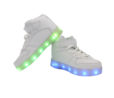 Galaxy LED Shoes Light Up USB Charging High Top Lace & Strap Kids Sneakers (White) 3