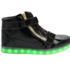 Galaxy LED Shoes Light Up USB Charging High Top Plated Lace & Strap Adult Sneakers (Black Glossy/Gold)