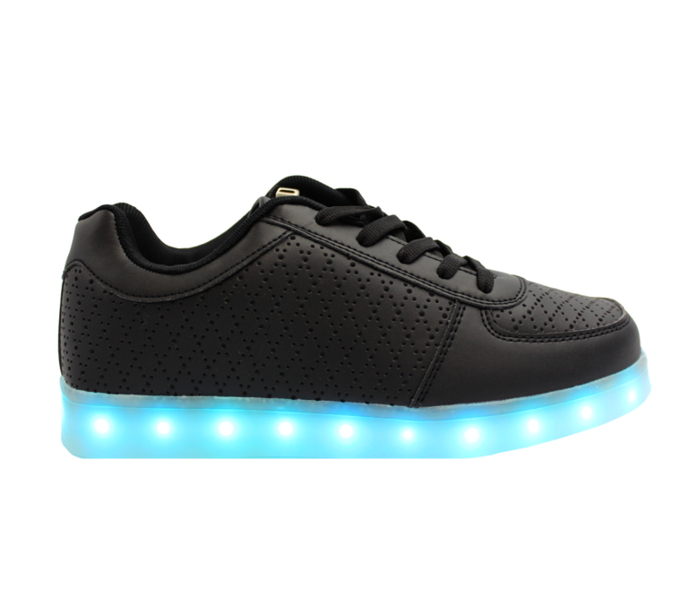 Galaxy LED Shoes Light Up USB Charging Low Top Pattern Adult Sneakers (Black)