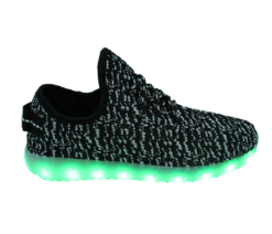 Galaxy LED Shoes Light Up USB Charging Low Top Knit Women's Sneakers (Black/White)