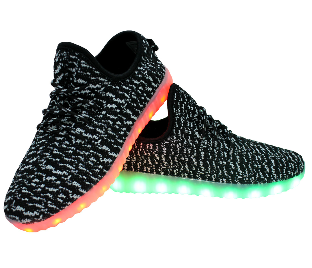 2272484ea54e Galaxy LED Shoes Light Up USB Charging Low Top Knits Kids Sneakers (Black  White