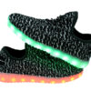 Galaxy LED Shoes Light Up USB Charging Low Top Knits Kids Sneakers (Black/White) 6