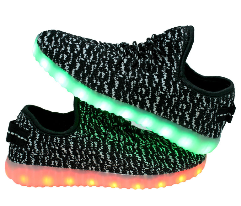 Galaxy LED Shoes Light Up USB Charging Low Top Knits Kids Sneakers (Black/White)