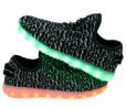 Galaxy LED Shoes Light Up USB Charging Low Top Knit Adult Sneakers (Black/White) 6