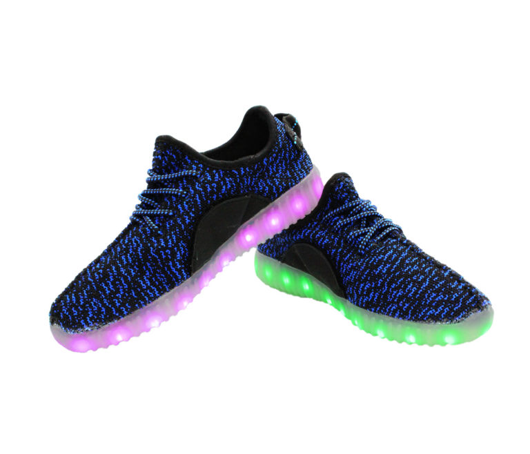 > Galaxy LED Shoes Light Up USB Charging Low Top Knits Kids Sneakers (Blue/Black)