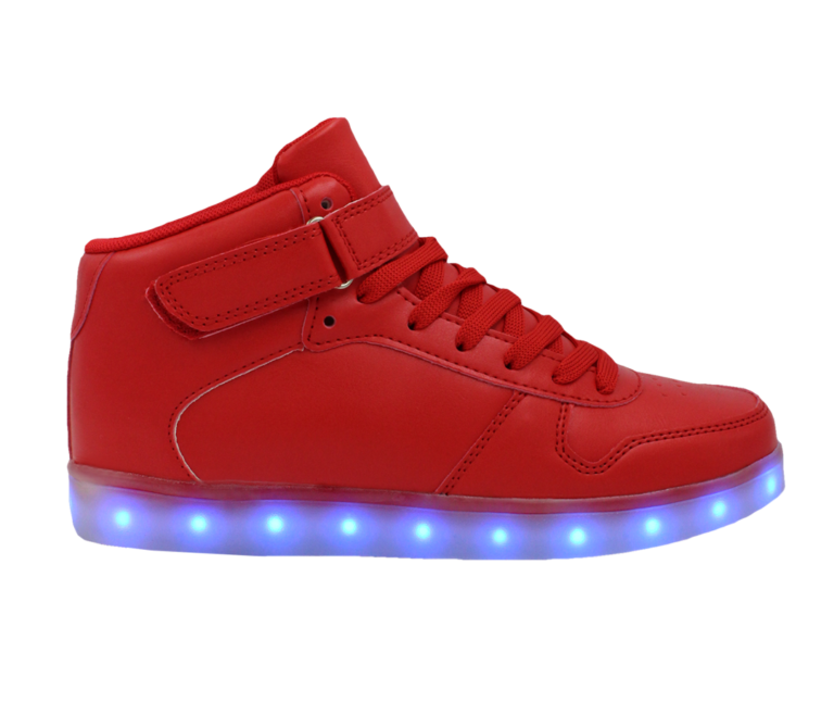 Galaxy LED Shoes Light Up USB Charging High Top Lace & Strap Adult Sneakers (Red)