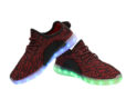 Galaxy LED Shoes Light Up USB Charging Low Top Knit Men's Sneakers (Black/Red) 3