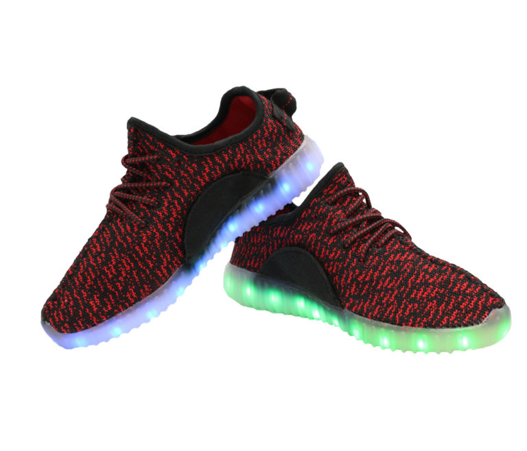 Galaxy LED Shoes Light Up USB Charging Low Top Knit Adult Sneakers (Black/Red)