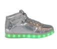 Galaxy LED Shoes Light Up USB Charging High Top Lace & Strap Kids Sneakers (Silver Glossy)