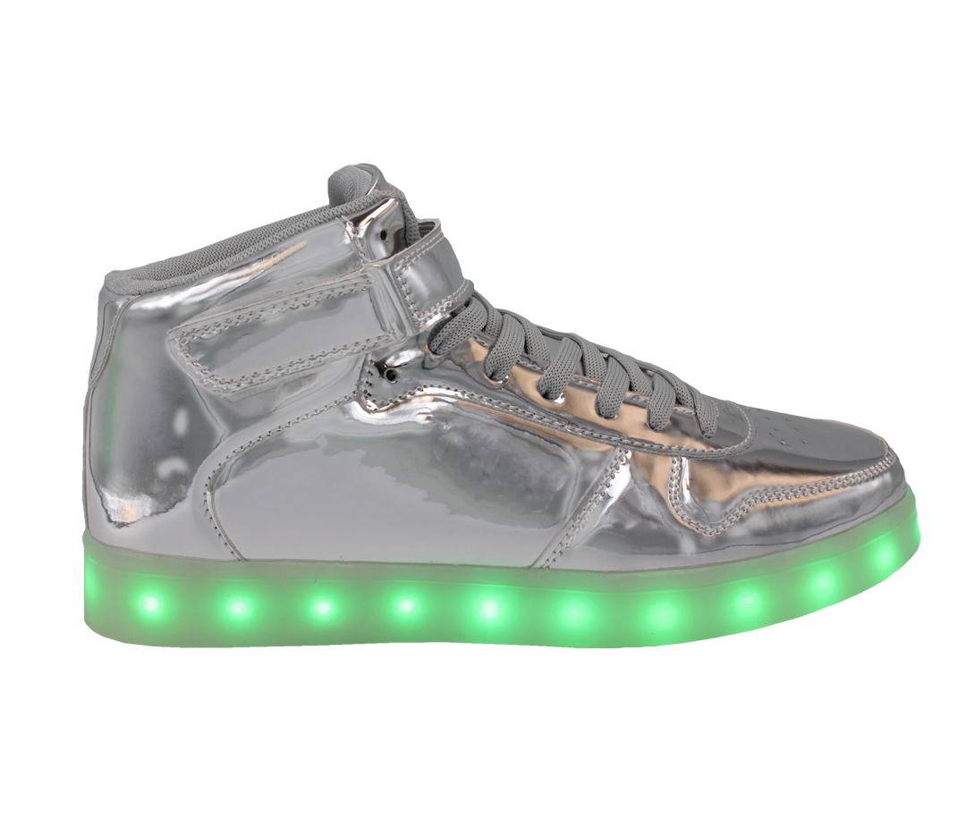 ae7bbbcb9961 Galaxy LED Shoes Light Up USB Charging High Top Lace   Strap Kids Sneakers  (Silver