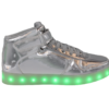 Galaxy LED Shoes Light Up USB Charging High Top Lace & Strap Men's Sneakers (Silver Glossy)